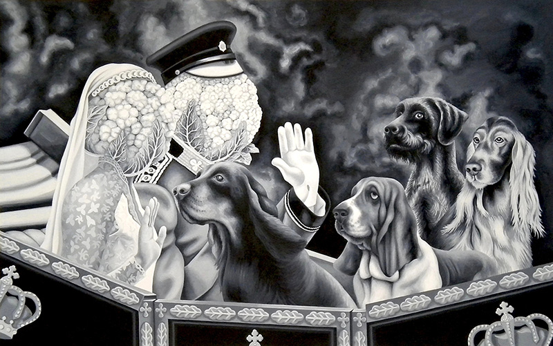 bwb-16 Noble Hounds and Royal Veg Heads. 2011, 48 x 78 cm, water mixable oil paint on canvas.