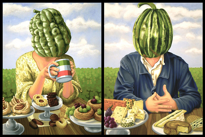 bwb-18 Mr & Mrs Zuccahead and their favourite dessert. 2011, 60 x 45 cm each, gouache on paper.