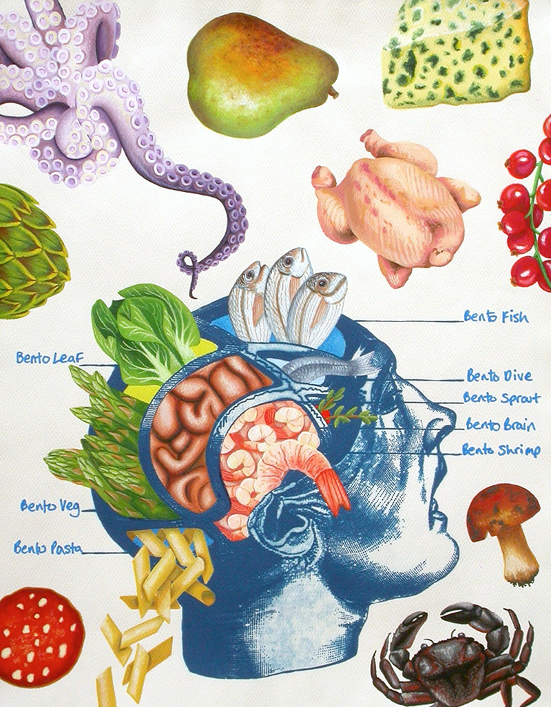 cy-03 Bento Brain. 2012, 35 x 28 cm, cyanotype print, watercolour and gouache on paper.