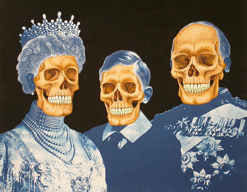 cy-06 Dynasty. 2012, 28 x 35 cm, cyanotype print, watercolour, gouache and casein on paper.