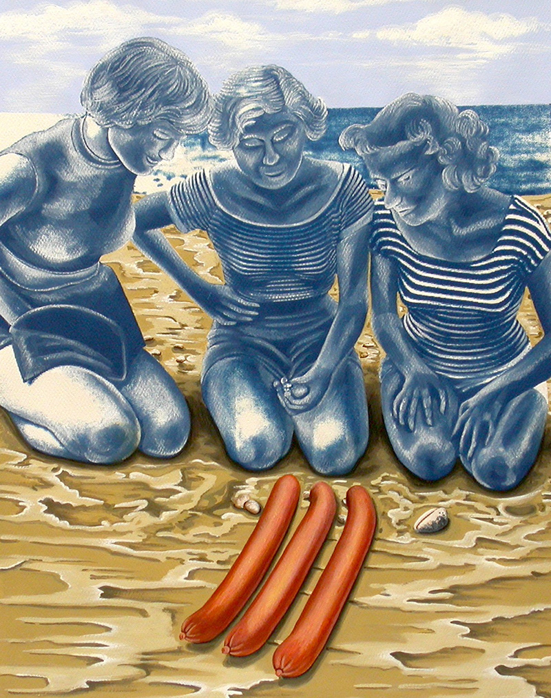 cy-08 Three Wieners Stranded on a Beach. 2012, 35 x 28 cm, cyanotype print, watercolour and gouache on paper.