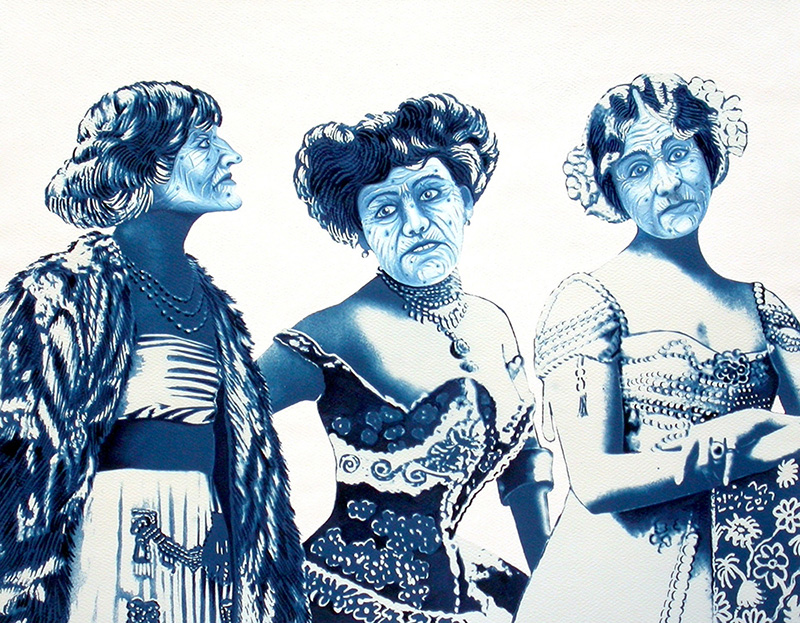 cy-11 The Three Graces turned Witches. 2012, 28 x 35 cm, cyanotype print, gouache, watercolour and casein on paper.