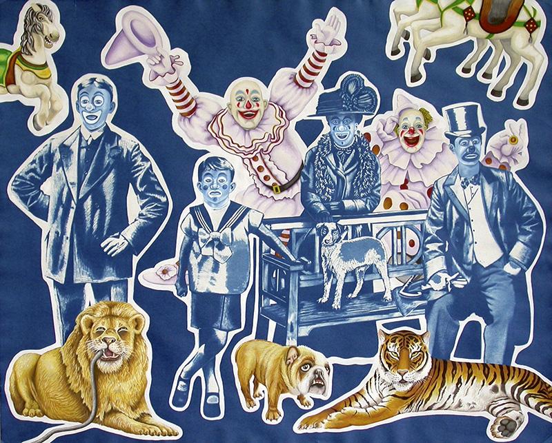 cy-12 Circus Weirdos. 2013, 60 x 75 cm, cyanotype print, gouache and casein on paper.