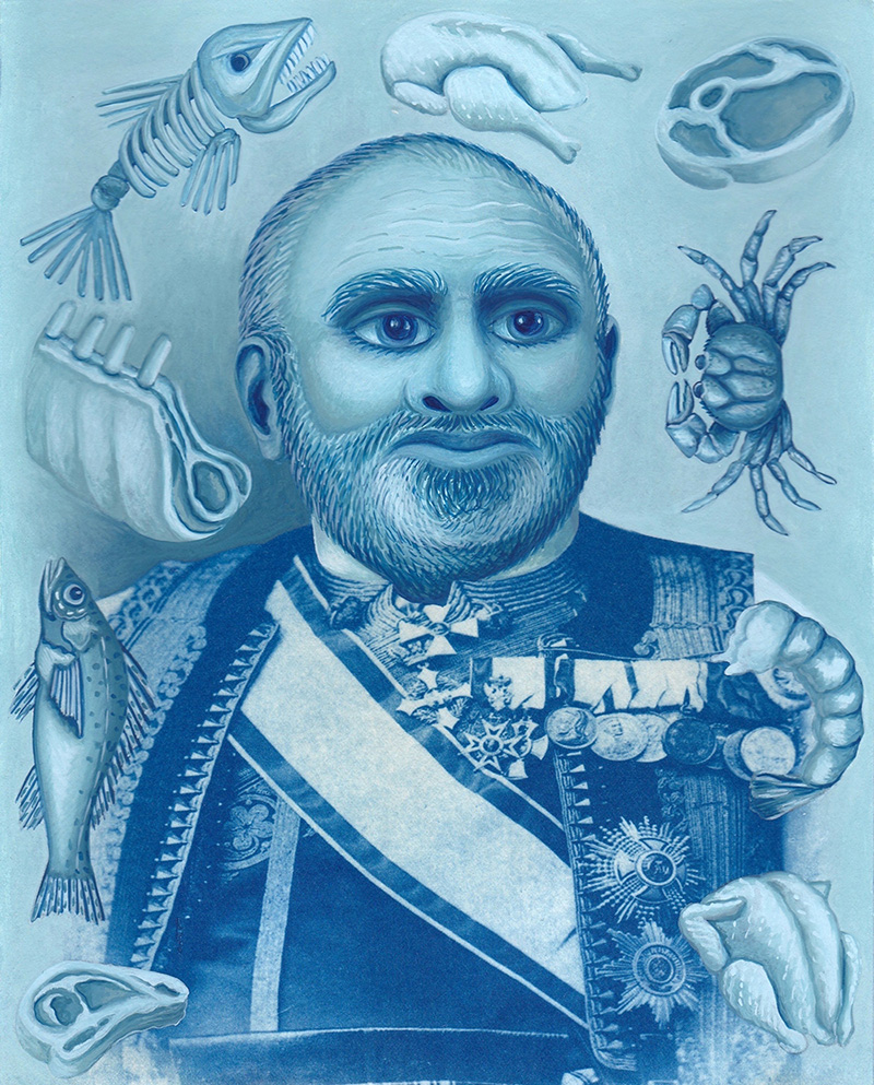 cy-15 The Greedy Statesman. 2014, 25 x 20 cm, cyanotype print and gouache on paper.