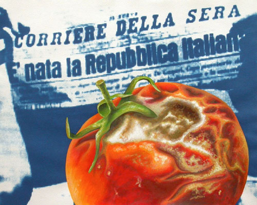 Tomato Republic. 2012, 28 x 35 cm, cyanotype print, watercolour and gouache on paper. 2