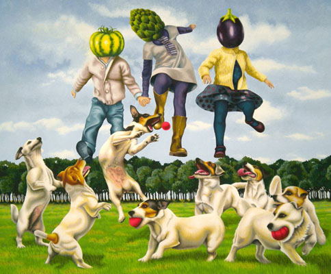 ho-04 Jumping Veg Heads. 2011, 65 x 80 cm, gouache on paper.