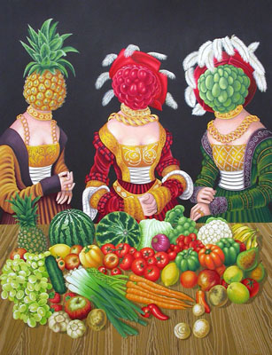 ho-10 16th Century Fruit Heads. 2012, 85 x 65 cm, gouache on paper.
