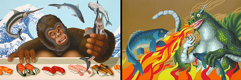nat-05 Catching Fish & Grilled Fish. 2006, 30.5 x 45.5 cm each, oil on canvas.