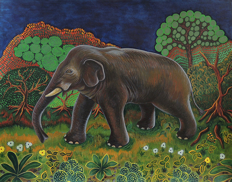 nat-15 Elephant at Night. 2016, 28 x 35.5 cm, watercolour on paper.