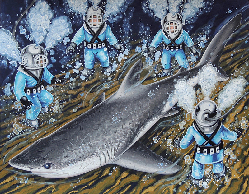 nat-17 Deep Sea Shark. 2016, 28 x 35.5 cm, gouache on paper.