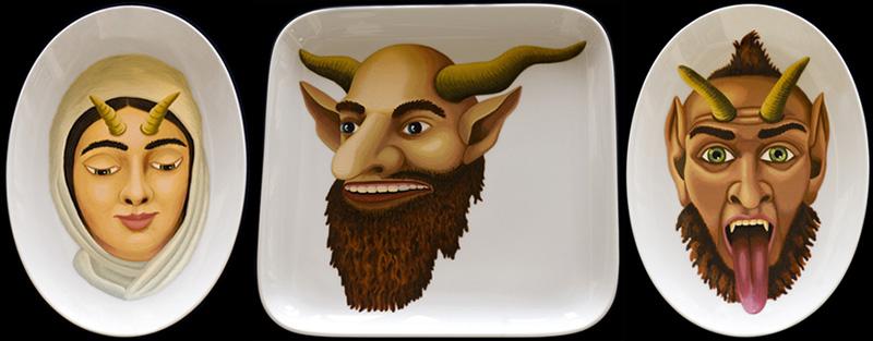 sj-11 The Devils Girlfriend 2005 26x18cm The Devil 2005 29x29cm The Devils Helper 2005 26x18cm thermohardening paint on porcelain