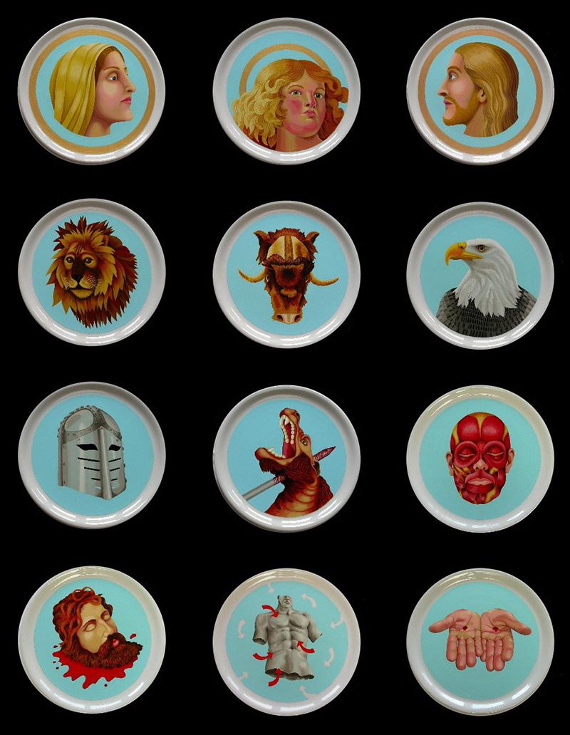 sj-12 Saints on Plates. 2005-2007, 31 cm each, thermohardening paint on porcelain.