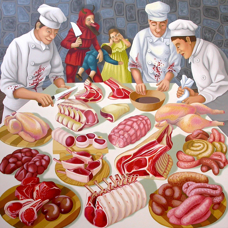 sj-13 The Devil Food. 2006,  76 x 76 cm, oil on canvas.
