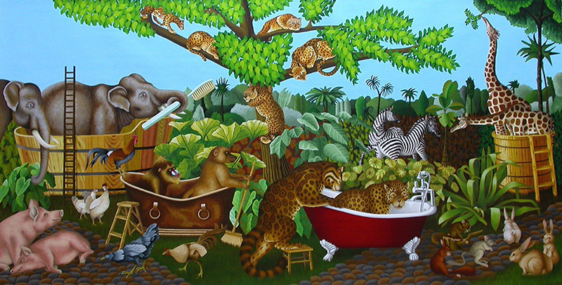 sj-19 Noah Bath. 2007, 75 x 150 cm,  oil on canvas.