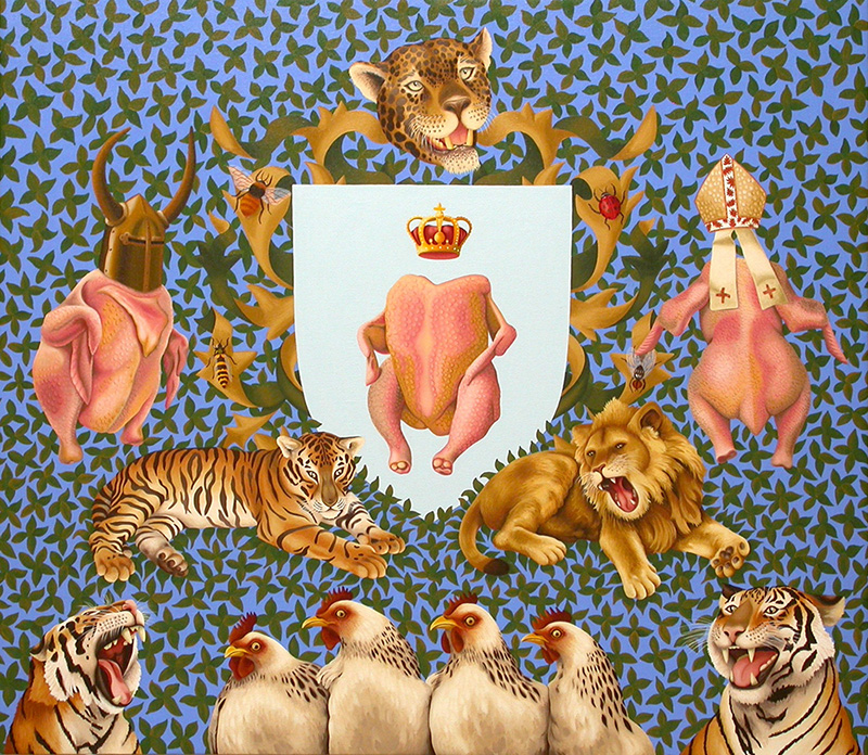 sj-20 Medieval Chickens.  2008, 70 x 80 cm, oil on canvas.