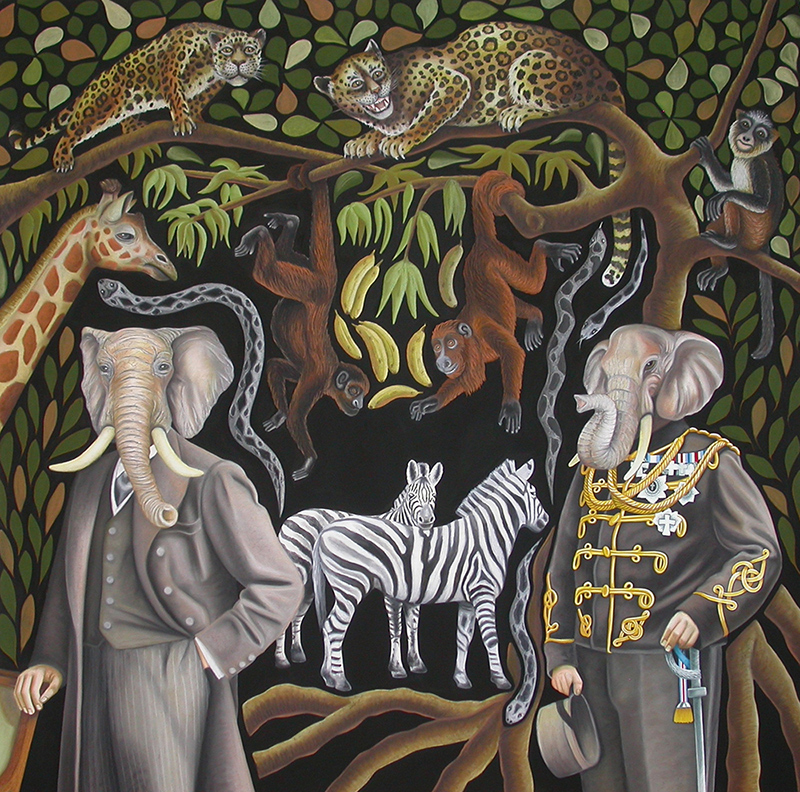 sta-01 Gentlemen's Jungle. 2013, 140 x 140 cm, charcoal, pastel, graphite, ink, gouache and casein on paper.