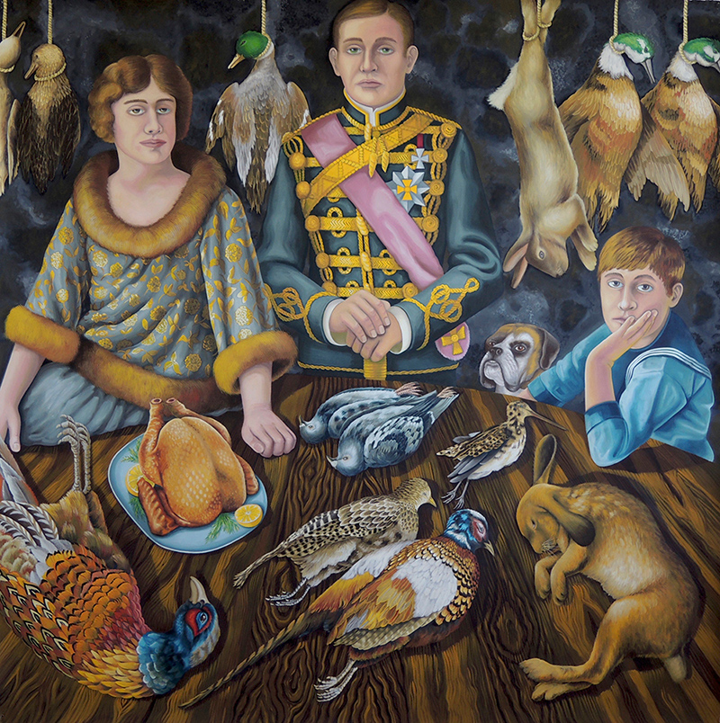 sta-04 Dead Game. 2015, 140 x 140 cm, gouache on paper.