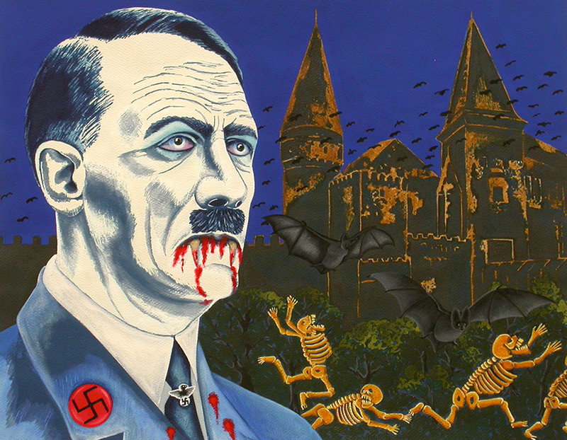 war-03 Portrait of Hitler as a Vampire. 2012, 28 x 35 cm, cyanotype print, watercolour, gouache and casein on paper.