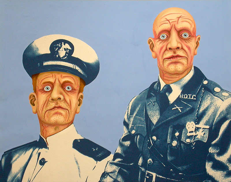 war-04 Military Zombies. 2012, 28 x 35 cm, cyanotype print, gouache and casein on paper.