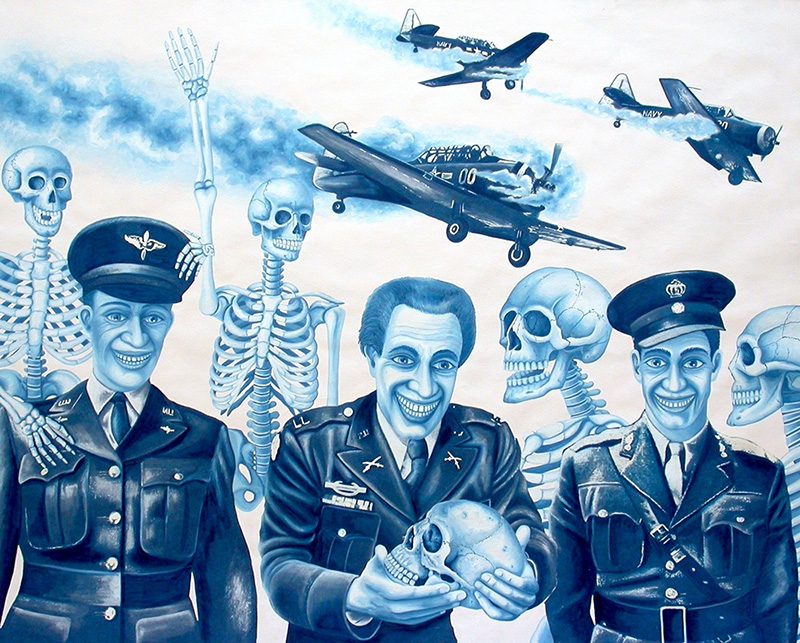 war-05 Military Plane Crash. 2012, 60 x 75 cm, cyanotype print,  gouache and casein on paper.