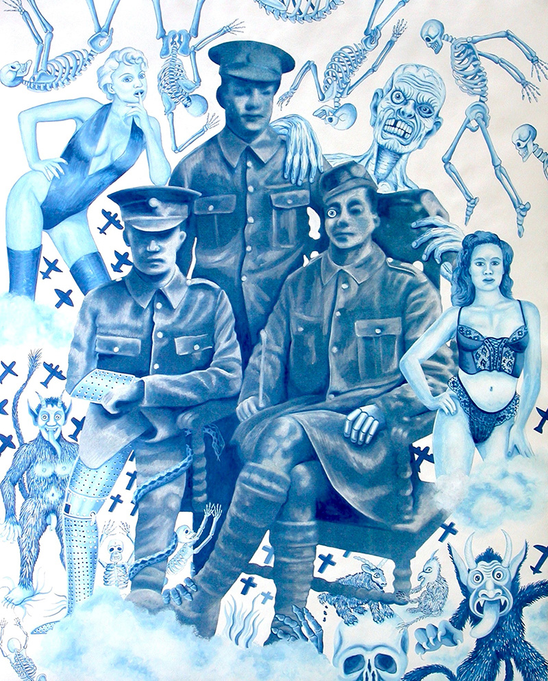war-07 Military Doodle. 2013, 75 x 60 cm, cyanotype print, gouache and casein on paper.