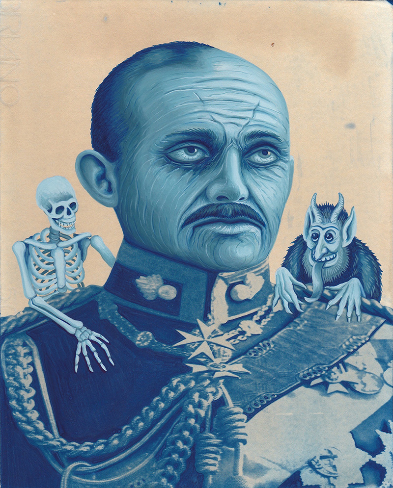 war-11 The Tired General. 2014, 25 x 20 cm, cyanotype print and gouache on paper.