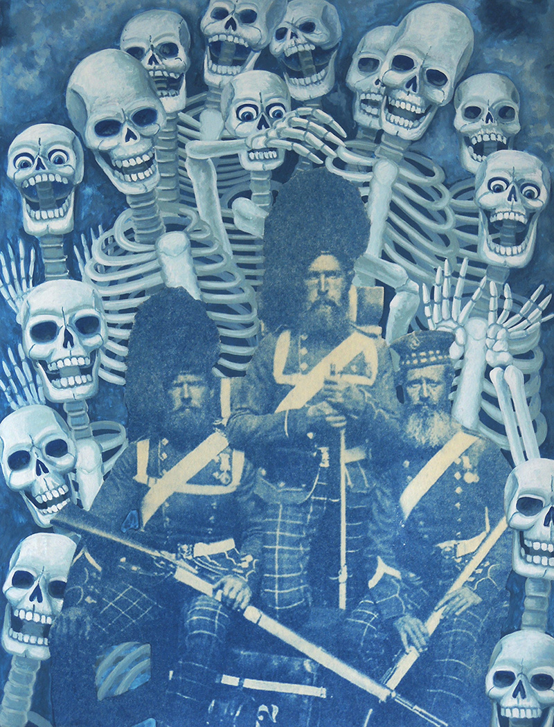 war-13 Bearded Scots Regretting their Independence. 2014, 32 x 24 cm, cyanotype print and gouache on paper.