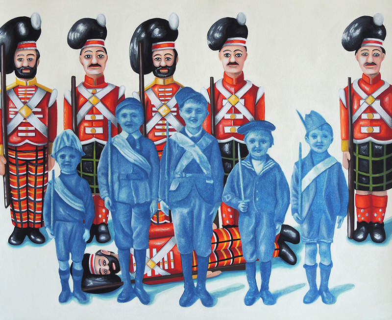 war-14 Boy Soldiers. 2014, 28 x 34 cm, cyanotype print, gouache and casein on paper.