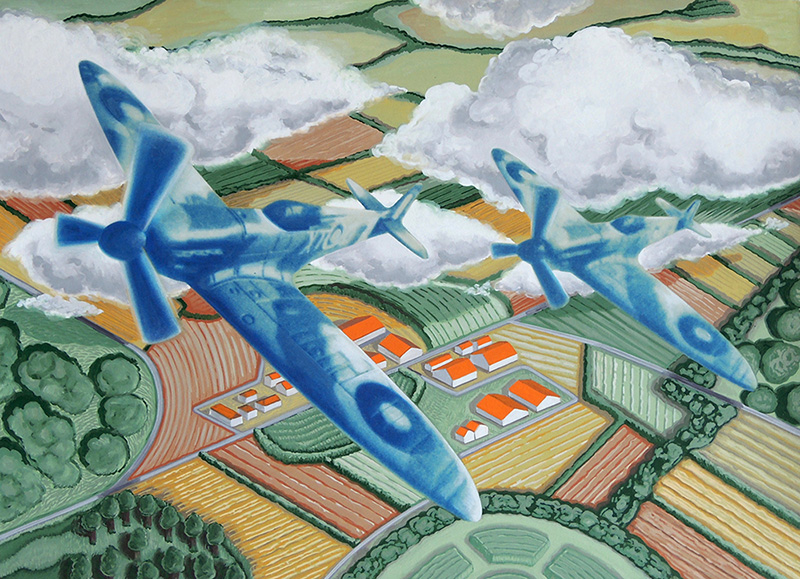 war-17 Flying in Formation on a Fine Day lV. 2014, 29.5 x 40.5 cm, cyanotype print and gouache on paper.