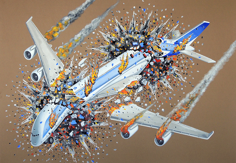 war-21 Flying in Formation on a Fine Day VIII. 2015, 70 x 100 cm, gouache on paper.