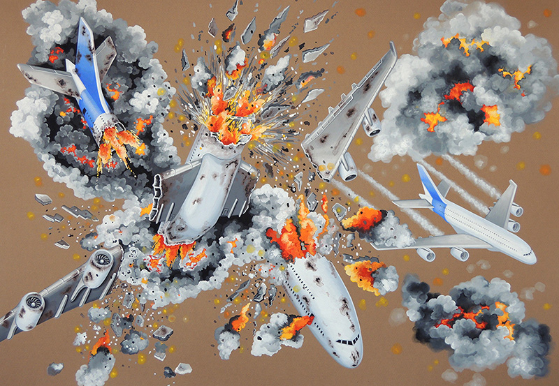 war-22 Flying in Formation on a Fine Day IX. 2015, 70 x 100 cm, gouache on paper.