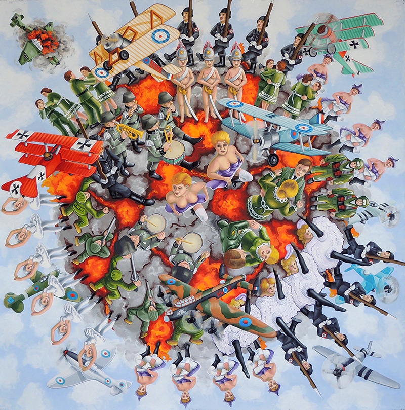 war-23 Nazi Cancan. 2016, 140 x 140 cm, gouache on paper.