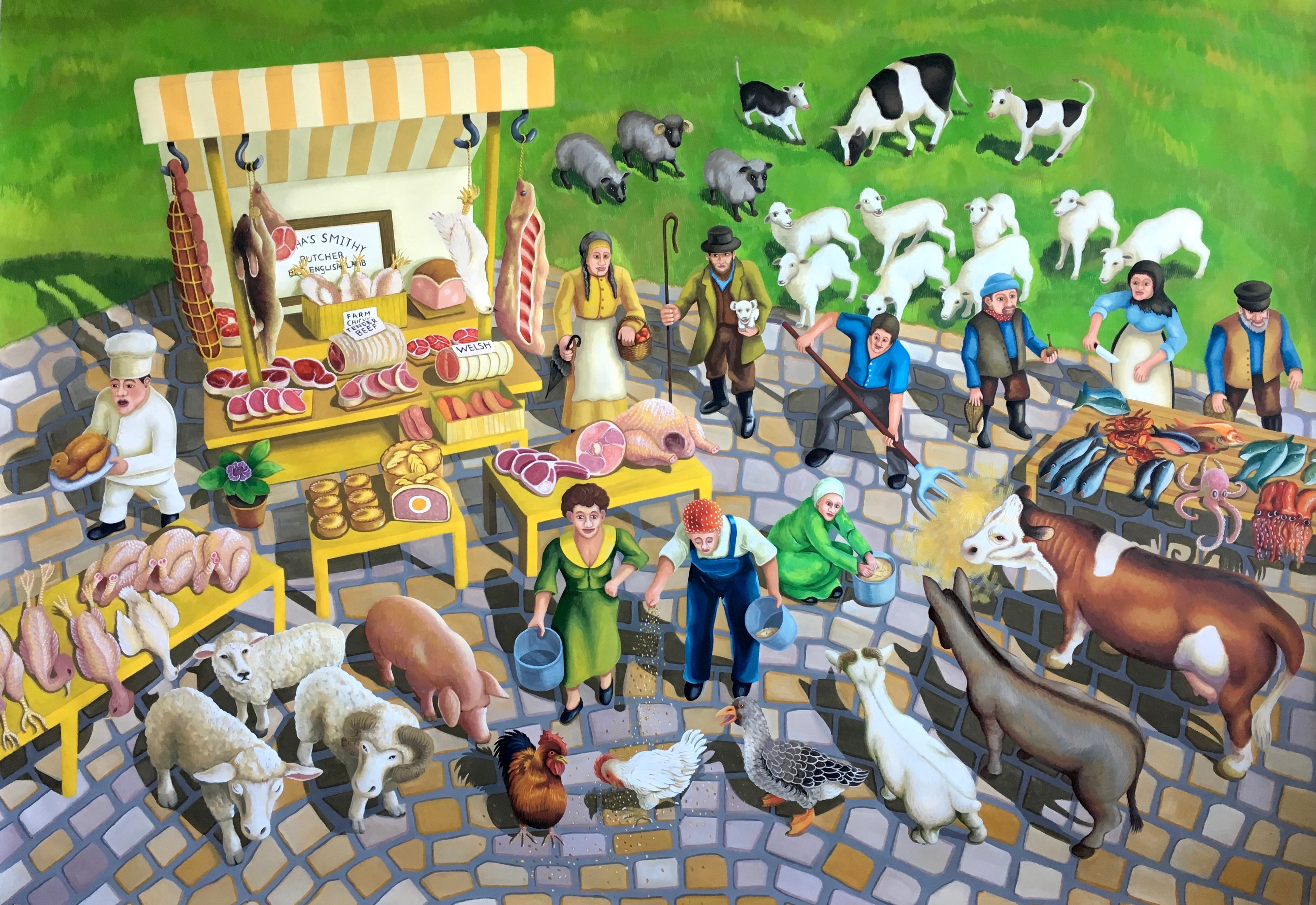 2) Market Day. 2017, 140 x 200 cm, gouache on paper.