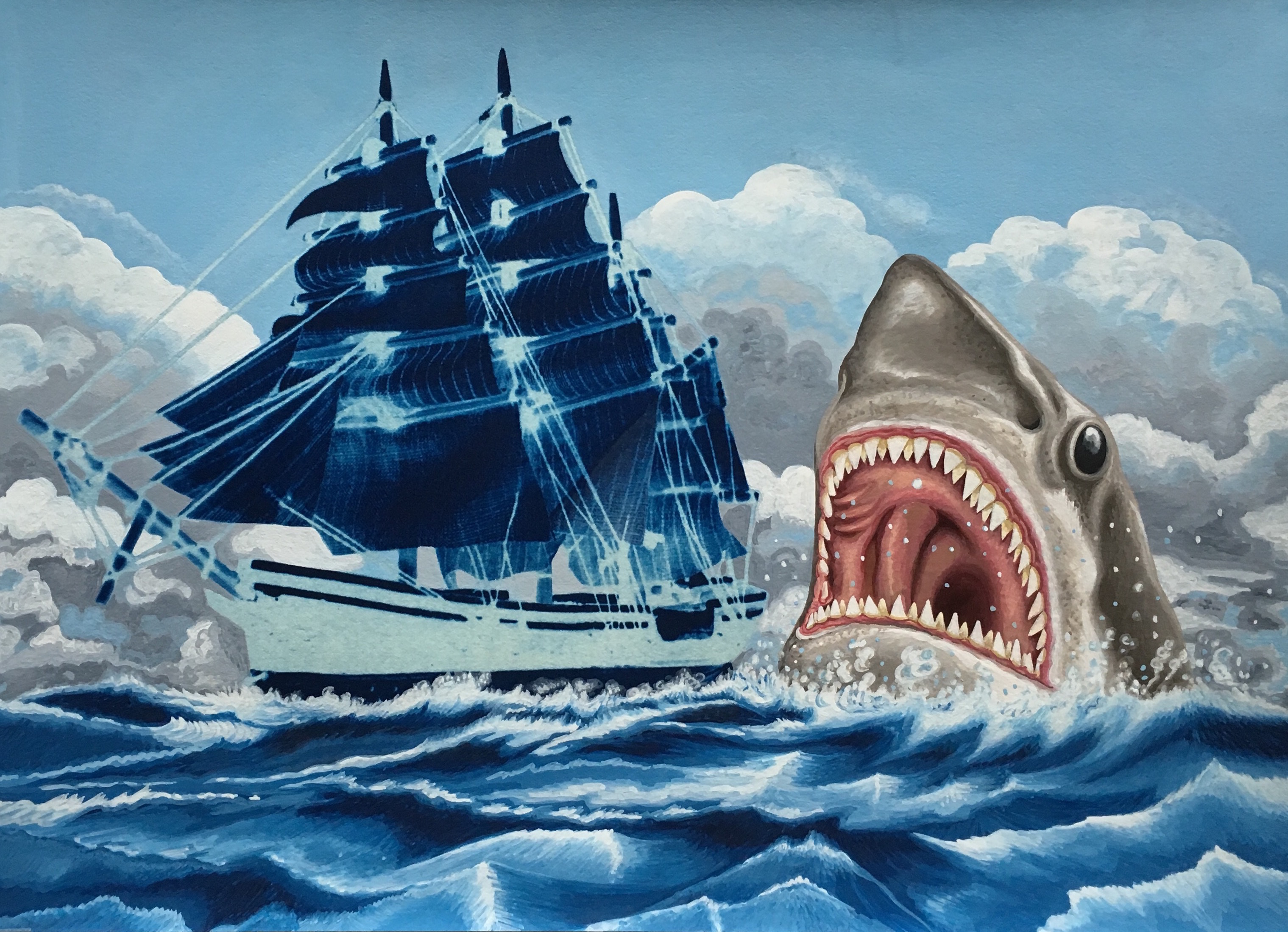 3) Shark Attack. 2016, 29.7 x 40.5 cm, cyanotype print and gouache on paper.