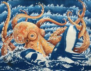 Octopus Attack. 2016, 28 x 35 cm, cyanotype print and gouache on paper.