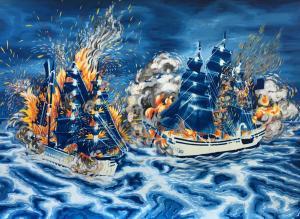 Battleships. 2016, 29.7 x 40.5 cm, cyanotype print and gouache on paper.
