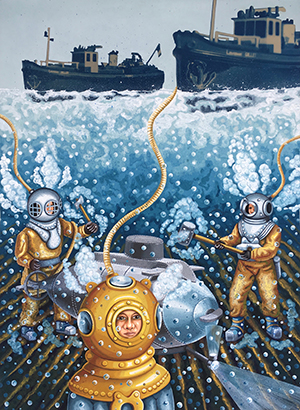 Deep Sea Divers. 2017, 76 x 56 cm, cyanotype print, gouache and ink on paper.