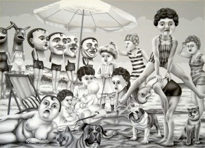 Victorian Beach Dolls. 2010, 40 x 56 cm, gouache on paper.