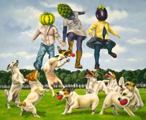 Jumping Veg Heads. 2011, 65 x 80 cm, gouache on paper.