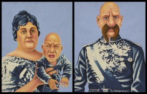 Royal Bignose, his Wife and Sceeming Child. 2012, 35 x 28 cm each, cyanotype print,  gouache, watercolour and casein on paper.