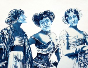The Three Graces turned Witches. 2012, 28 x 35 cm, cyanotype print, gouache, watercolour and casein on paper.