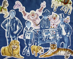 Circus Weirdos. 2013, 60 x 75 cm, cyanotype print, gouache and casein on paper.