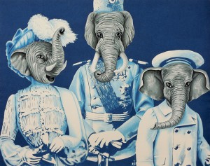 Babar. 2014, 28 x 35 cm, cyanotype print and gouache on paper.
