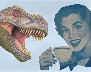 Tea Rex. 2014, 20 x 25 cm, cyanotype print, gouache and casein on paper.