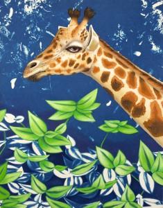 Giraffe. 2014, 35 x 28 cm, cyanotype print and gouache on paper.