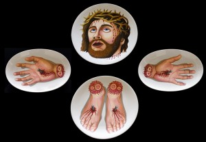 Crucifixion. 2004,  100 x 100 cm,   thermohardening paint on porcelain.
