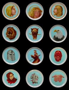 Saints on Plates. 2005-2007, 31 cm each, thermohardening paint on porcelain.