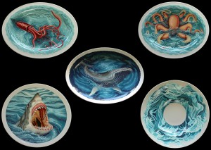 Jules for Jonah l 2007. Jules for Jonah ll 2007. Jonah's Whale 2008. Jaws for Jonah 2007. Parting Sea 2007. Size varies, thermohardening paint on porcelain.