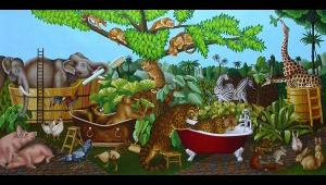 Noah's Bath. 2007,  75 x 150 cm,  oil on canvas.
