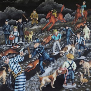 Cops and Robbers. 2015, 140 x 140 cm, gouache on paper.